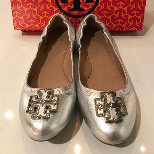 Tory Burch Shoes - Tory Burch Melinda Metallic Silver Ballet Flat
